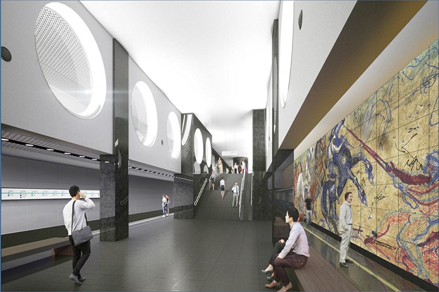Вестибюли станции выполнены в стиле хай-тек