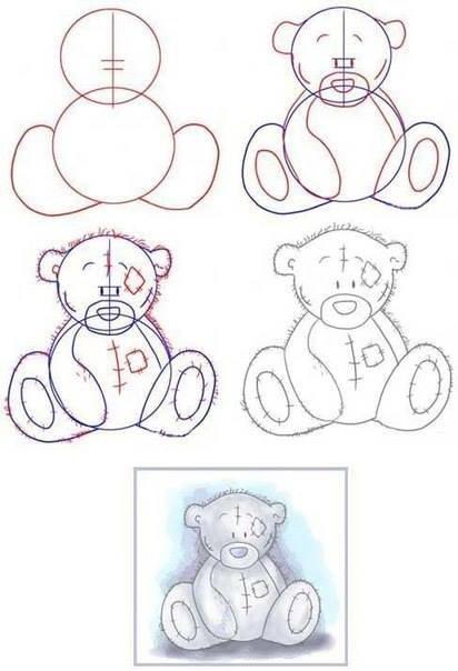 Инструкция по рисованию грустного медведя