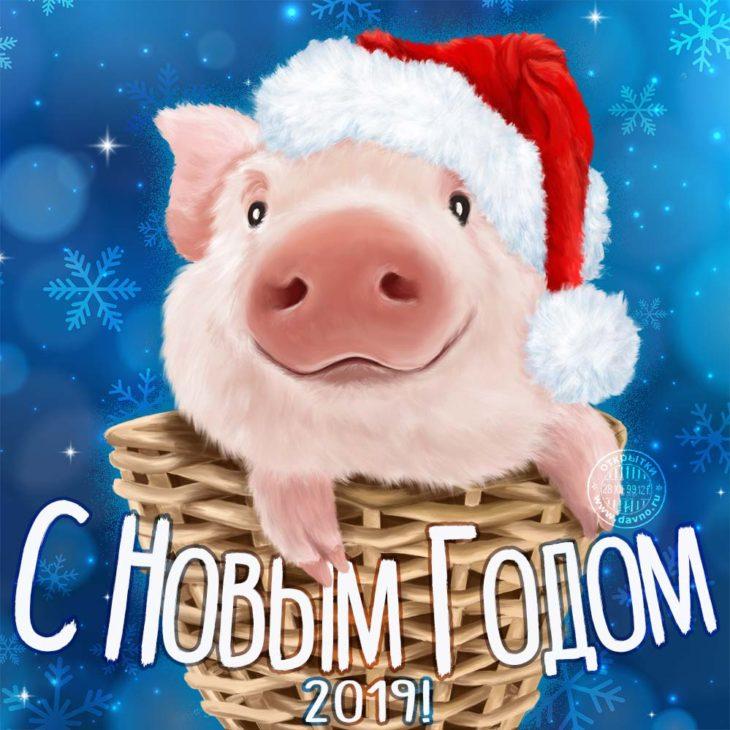 Поздравительная открытка на 2019 год