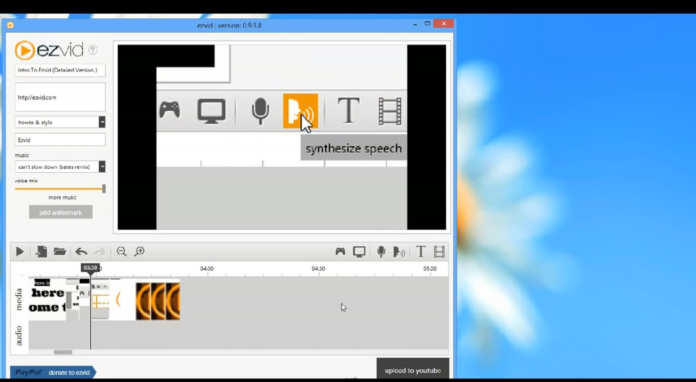 Интерфейс Ezvid-Video-Maker