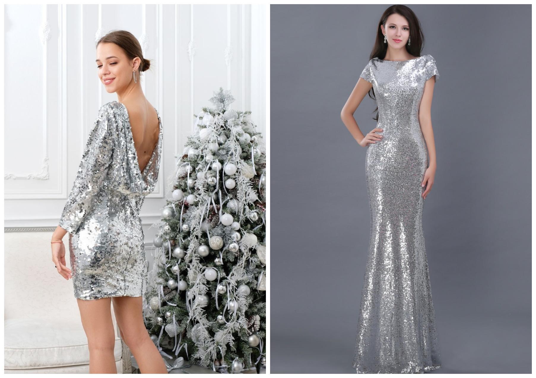 девушки в серебристых платьях