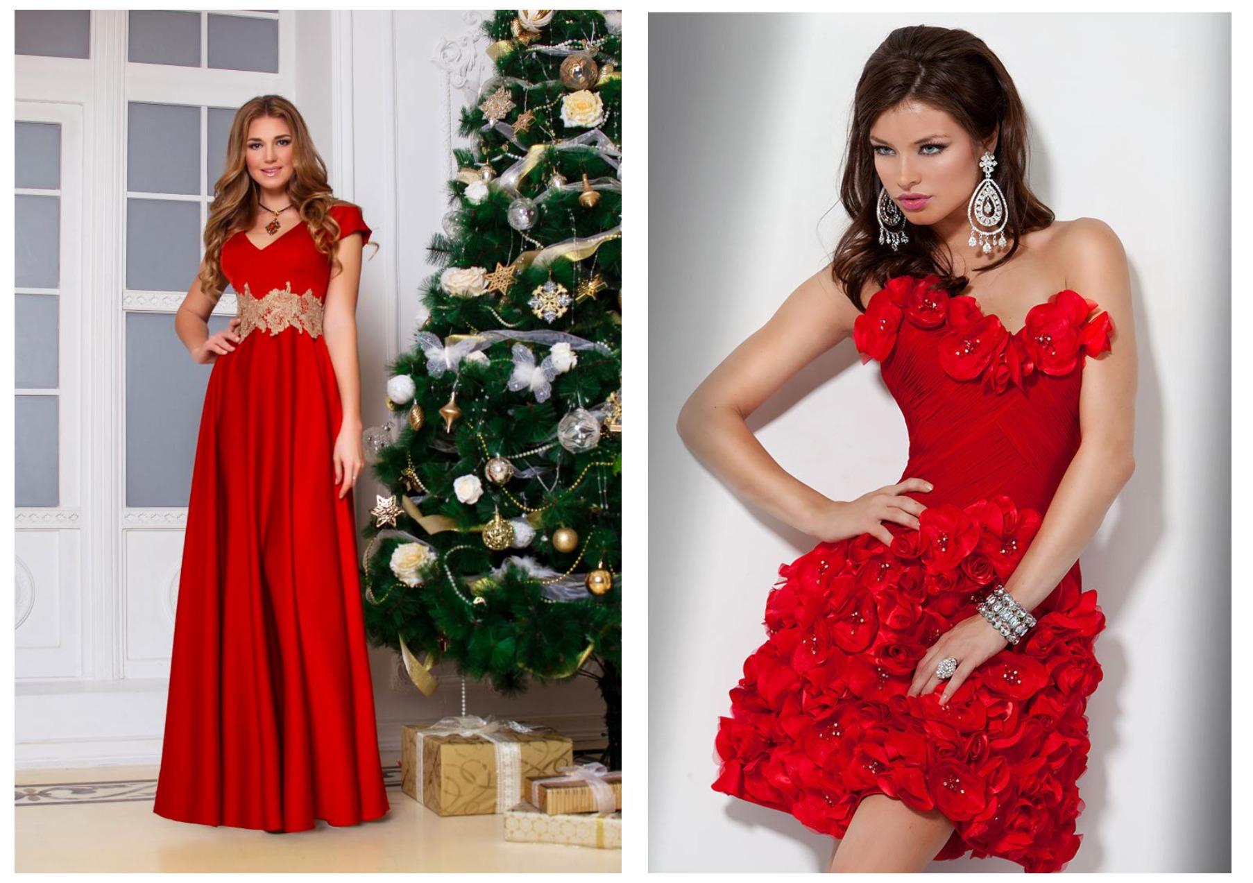 девушки в красных новогодних платьях