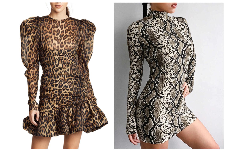 леопардовое и змениое платье