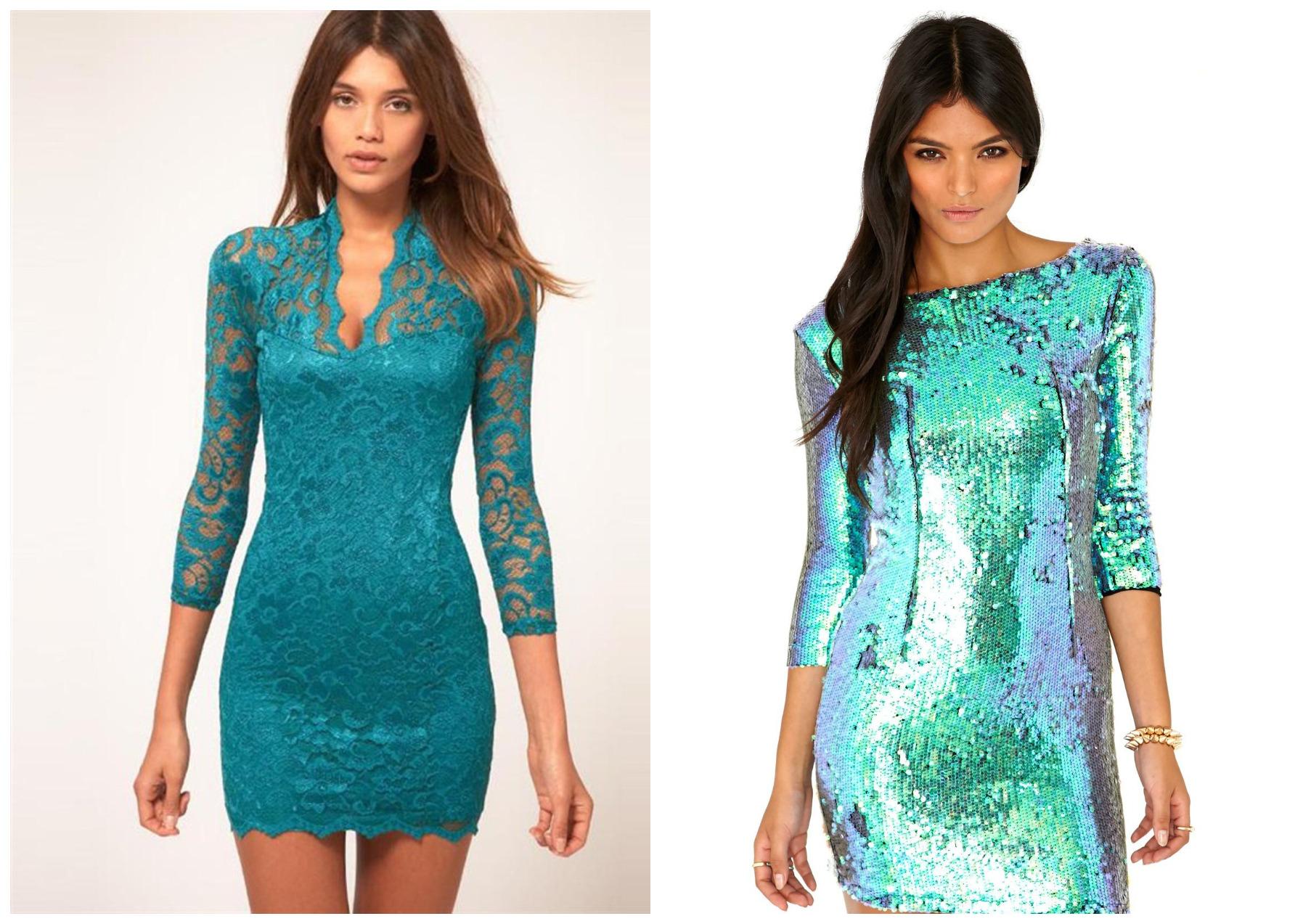 голубые новогодние платья