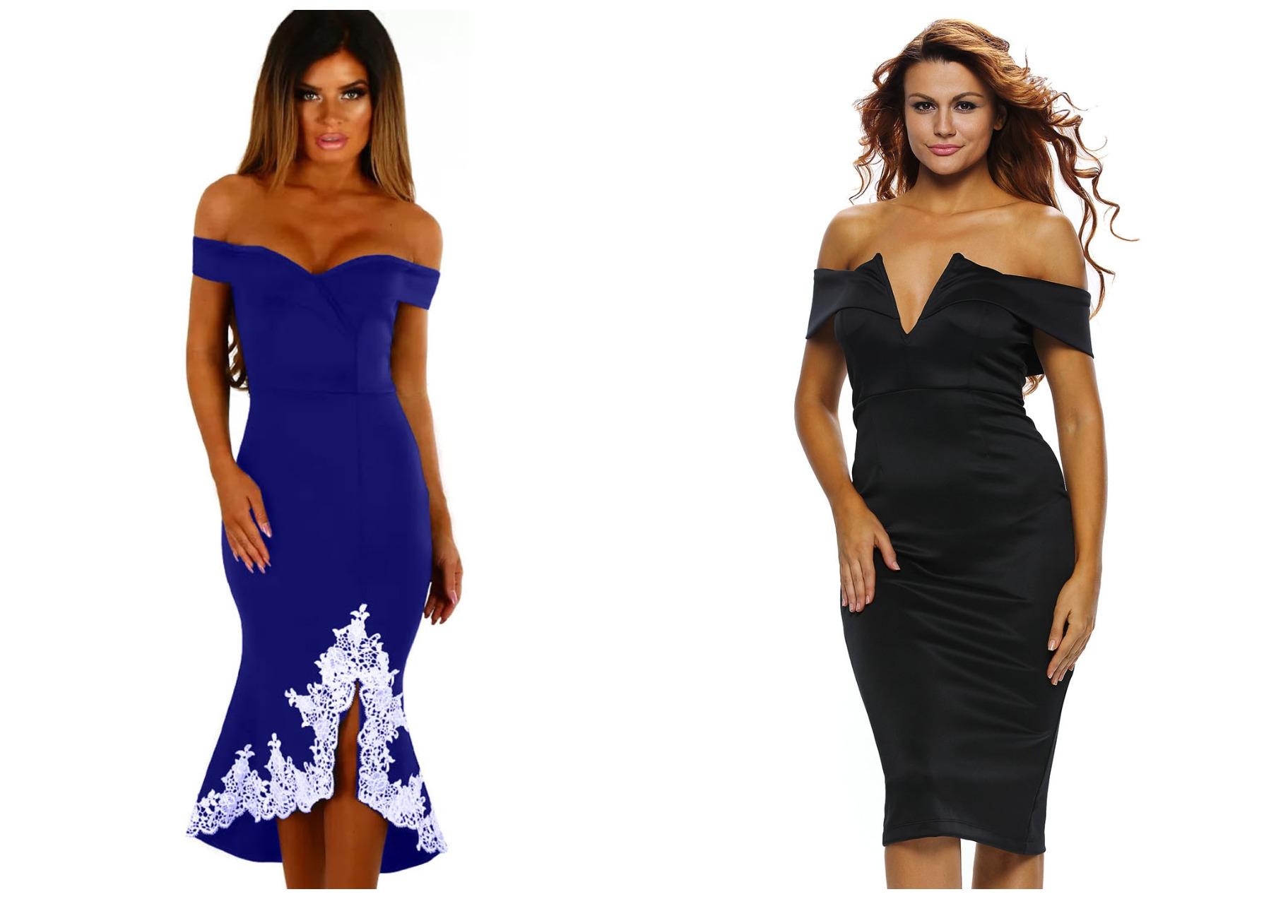 девушки в синем и черном платьях