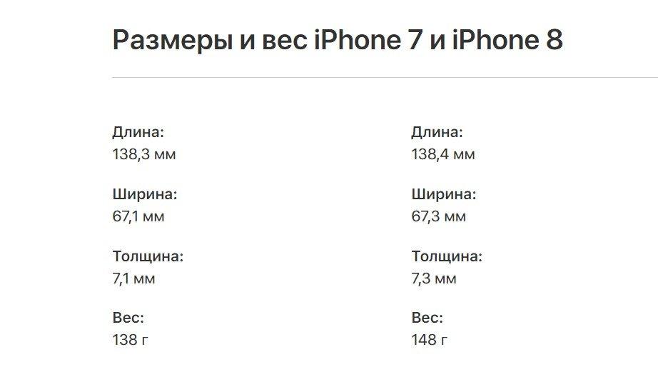 Характеристики айфон 7 и 8