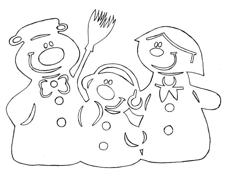 Снеговик для вырезания на окно