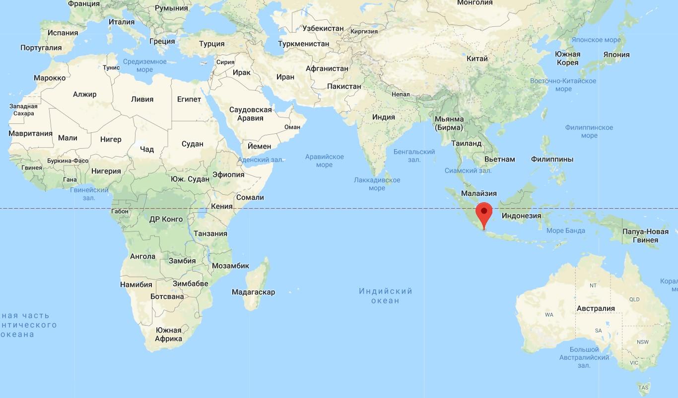 Кракатау на карте мира