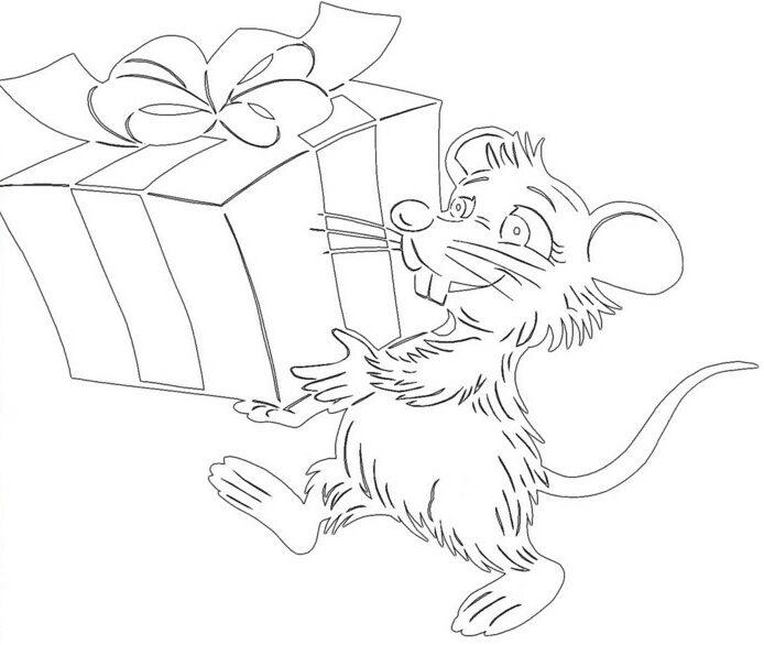 Крыса несет подарок шаблон для вырезания