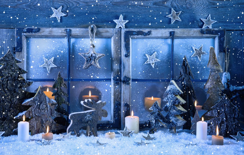 Украшаем к Новому году, Оконная композиция, Ель, Лось, Свечи